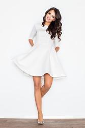 Ecru rozszerzana sukienka w wytłaczany wzór