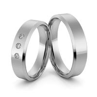 Obrączki ślubne platynowe klasyczne płaskie fazowane 5 mm z brylantami - pt-34