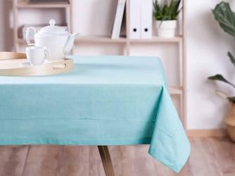 Obrus na stół altom design bawełna miętowy  wykończenie ażurowe 110 x 160 cm