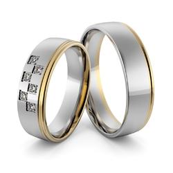 Obrączki ślubne dwukolorowe z brylantami - au-998