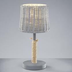 Klasyczna lampa stołowa z rattanowym kloszem rotin