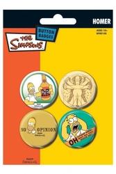 The simpsons homer - zestaw 4 przypinek
