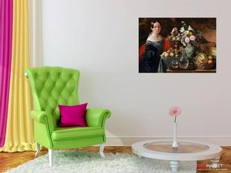 portret nieznajomej z kwiatami i owocami - jan chrucki ; obraz - reprodukcja