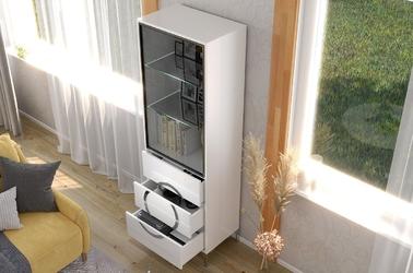 Biała nowoczesna witryna eva  ze szklanymi drzwiami  wysoki połysk
