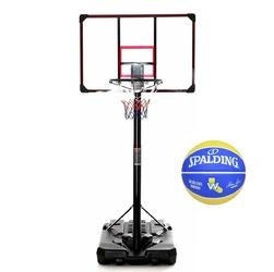 Zestaw kosz do koszykówki delux mobilny + piłka spalding golden state
