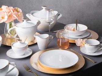 Zestaw obiadowy dla 6 osób porcelana mariapaula moderna gold ze złotym zdobieniem 24 elementy