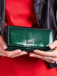 Skórzany portfel damski lakierowany zielony lorenti 76114 - zielony