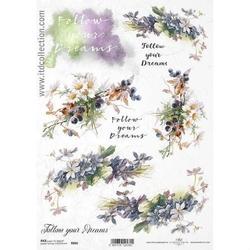 Papier ryżowy itd a4 r866 kwiaty napisy