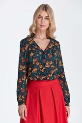 Elegancka bluzka z ozdobnym dekoltem - wzór brąz