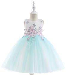 Sukienka dla dziewczynki tiulowa - błękitno różowa