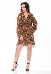 wzorzysta szyfonowa sukienka z falbankami - druk 13