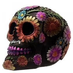 Meksykańska czaszka w kolorowe kwiaty - figurka
