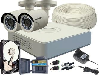 Zestaw hd-tvi 2 x kamera fullhd, rejestrator 4ch + dysk 500gb - szybka dostawa lub możliwość odbioru w 39 miastach