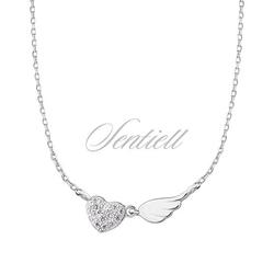Srebrny naszyjnik pr.925 serce z cyrkoniami i skrzydło - rodowanie