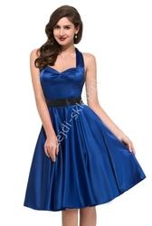 Chabrowa sukienka pin-up na szyję lata 60-te,70-te, 6046