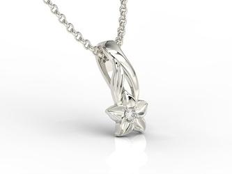 Wisiorek z białego złota z brylantem bpw-15b - białe  diament