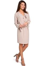 Beżowa kobieca krótka sukienka z wiązaniem