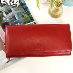 Portfel skórzany damski krenig classic 12026 czerwony w pudełku - czerwony