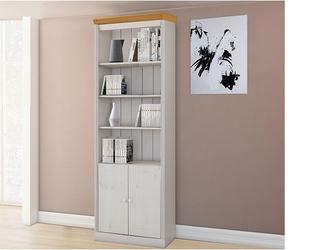 Regał sosnowy z półkami i drzwiczkami anita biały z wieńcem w kolorze naturalnym  74x34x219 cm