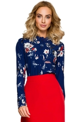 Granatowa koszulowa bluzka w kolorowe kwiaty z falbankami