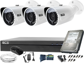 Monitoring kompletny 3 kamery tubowe bcs-tq3200ir-e rejestrator bcs-xvr0401-iii dysk 1tb