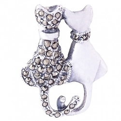 Luv srebrna broszka z markazytami koty zakochane