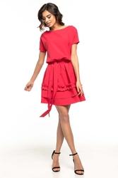 Rozkloszowana sukienka z falbankami - malinowa