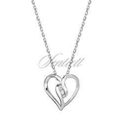 Srebrny naszyjnik pr.925  serce z cyrkoniamii