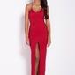Czerwona wieczorowa maksi sukienka na cienkich ramiączkach