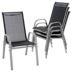 Zestaw 4 krzeseł ogrodowych w kolorze czaroszarym