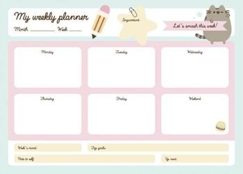 Pusheen - planer tygodniowy