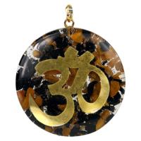 Orgonit - turmalin, jaspis i znak OM wisior