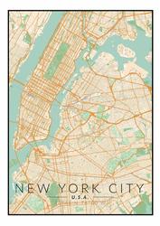 Nowy Jork mapa kolorowa - plakat Wymiar do wyboru: 61x91,5 cm