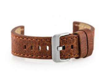 Pasek skórzany do zegarka W48 - PREMIUM - ciemnobrązowy I - 20mm
