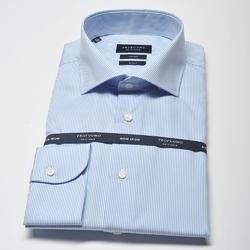 Elegancka koszula męska taliowana slim fit w jasnoniebieski prążek 39