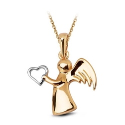 Staviori zawieszka anioł z sercem z białego i żółtego złota 0,333. wysokość 19 mm.
