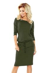 Khaki sukienka dresowa ze ściąganym paskiem
