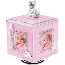 Różowa karuzela miś z pozytywką, szkatułką i miejscem na 4 zdjęcia na chrzest roczek dedykacja - karuzela miś z pozytywką różowy