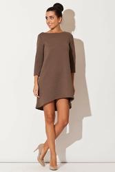 Brązowa asymetryczna sukienka pikowana
