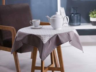 Obrus  serweta na stół altom design biały z dekoracją szara rozeta  obszycie szare kwadratowy 80 x 80 cm