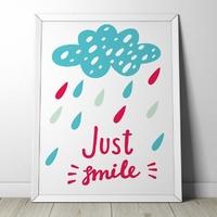 Just smile - plakat dla dzieci , wymiary - 20cm x 30cm, kolor ramki - czarny