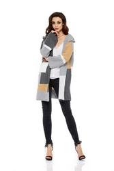Ciepły sweter z kapturem szarość  beż