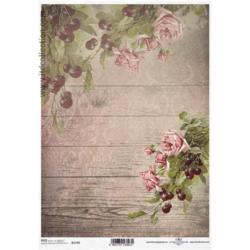 Papier ryżowy ITD A4 R1195 róże deski