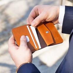 Skórzany cienki portfel męski z bilonówką solier sw16 slim jasny brąz - jasny brąz