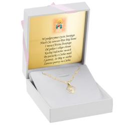 Złoty medalik z matką boską fatimską w okręgu pr. 585 dedykacja - białe z różową kokardką