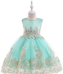 Miętowa sukienka dla dziewczynki ze złotym haftem