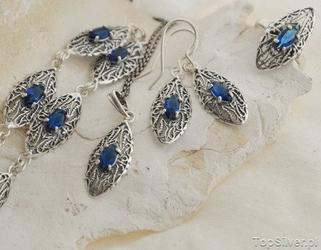 Izmir - srebrny komplet z szafirami