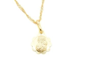 Złoty medalik z matką boską częstochowską łańcuszek pr. 333 chrzest komunia bierzmowanie grawer niebieska kokardka - białe z niebieską kokardką