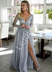 Długa szara tiulowa sukienka dla druhny, na studniówkę, na wesele, adel
