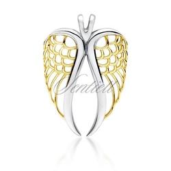 Srebrna zawieszka pr.925 pozłacane skrzydło - żółte złoto || rodowanie